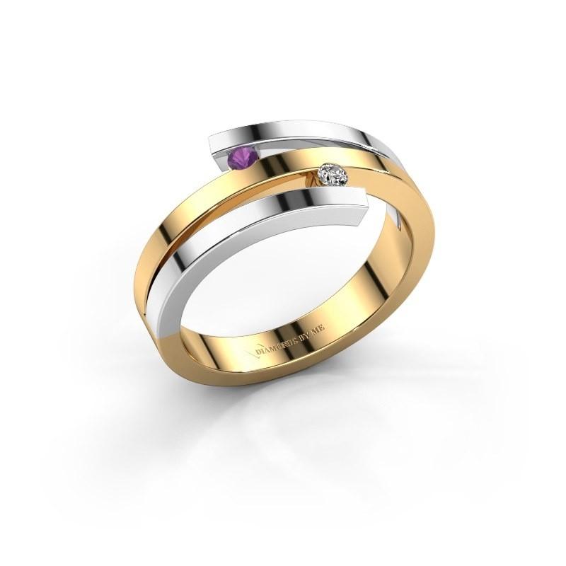 Ring Roxane 585 goud amethist 2 mm