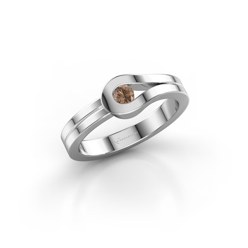 Bague Kiki 925 argent diamant brun 0.10 crt