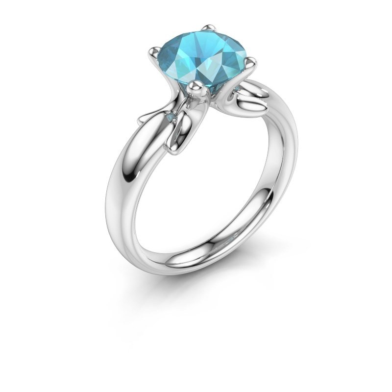 Ring Jodie 925 silver blue topaz 8 mm