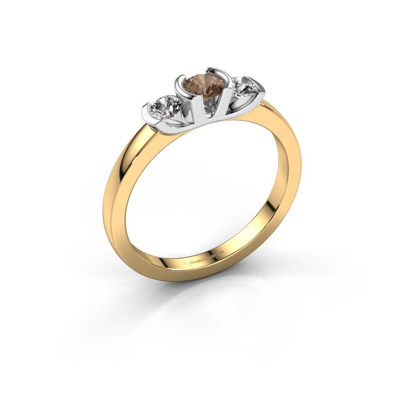 Ring Lucia 585 gold brown diamond 0.40 crt