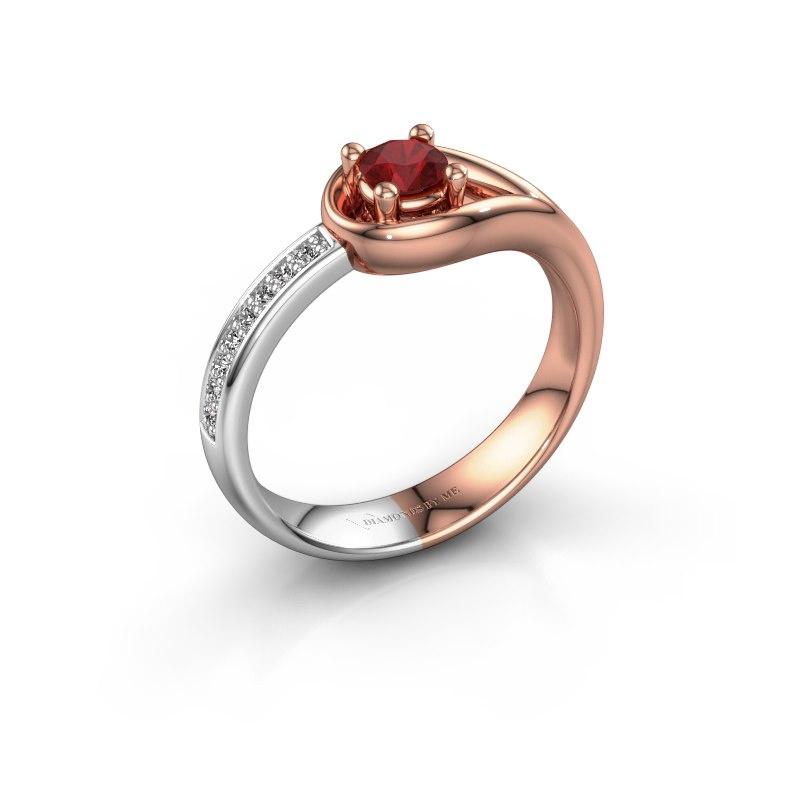 Ring Zara 585 rosé goud robijn 4 mm