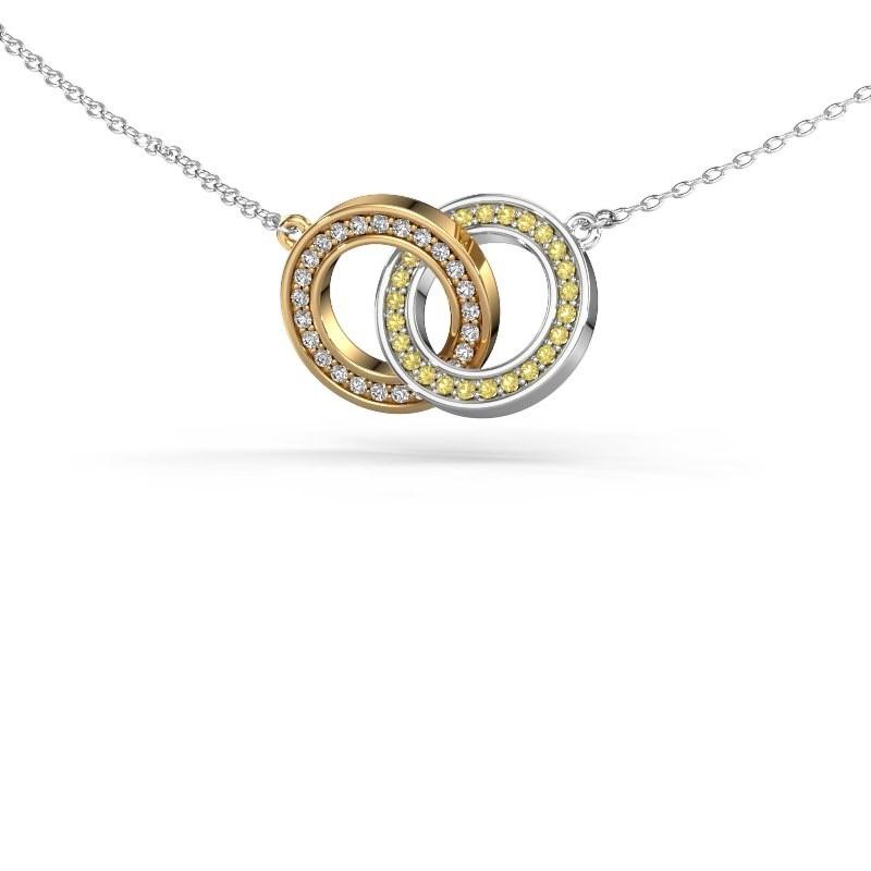 Halsketting Circles 2 585 goud gele saffier 1 mm