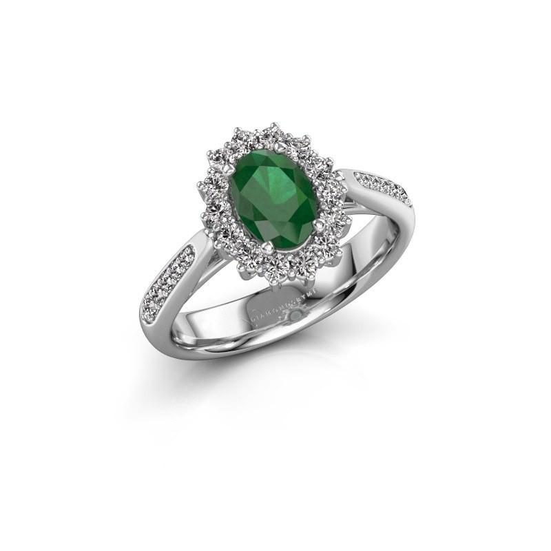 Verlovingsring Margien 2 925 zilver smaragd 7x5 mm