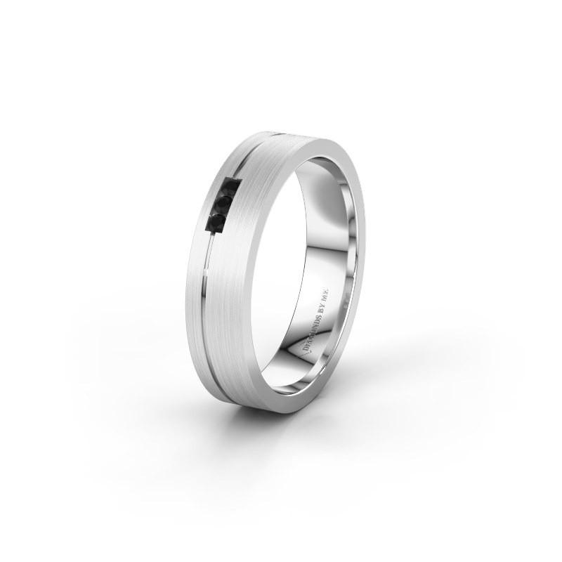 Trouwring WH0156L14X 925 zilver zwarte diamant ±4,5x1.4 mm
