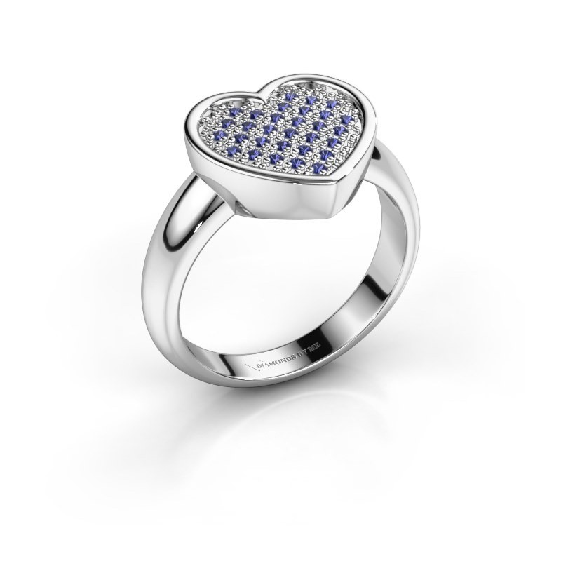 Ring Veerle 585 witgoud saffier 1 mm