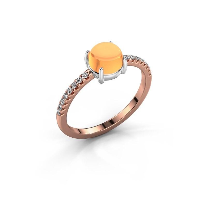Ring Cathie 585 rosé goud citrien 6 mm
