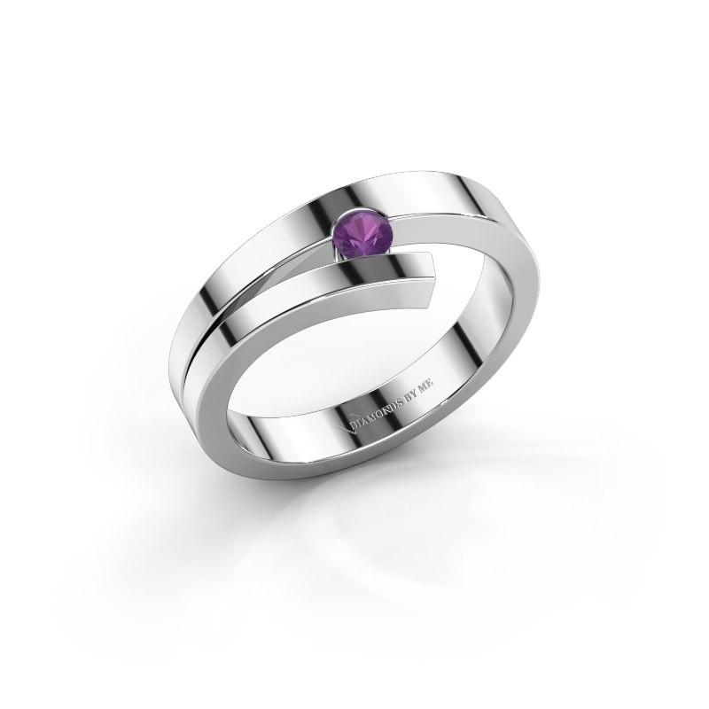 Ring Rosario 585 witgoud amethist 3 mm