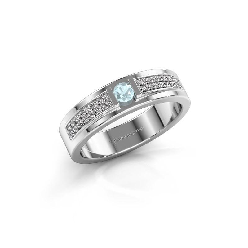 Ring Chanell 925 zilver aquamarijn 3 mm