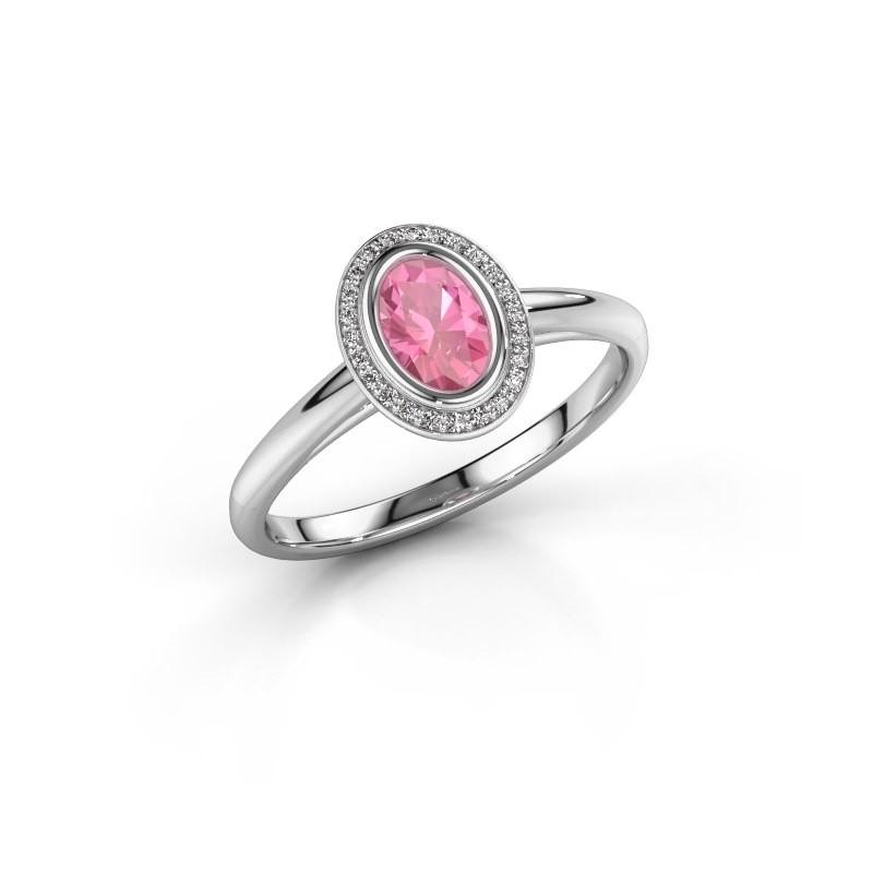 Verlovingsring Noud 1 OVL 925 zilver roze saffier 6x4 mm