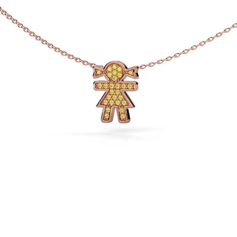 Collier Girl 585 rosé goud gele saffier 1 mm