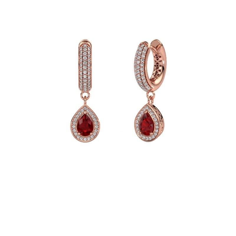 Drop earrings Barbar 2 375 rose gold ruby 6x4 mm