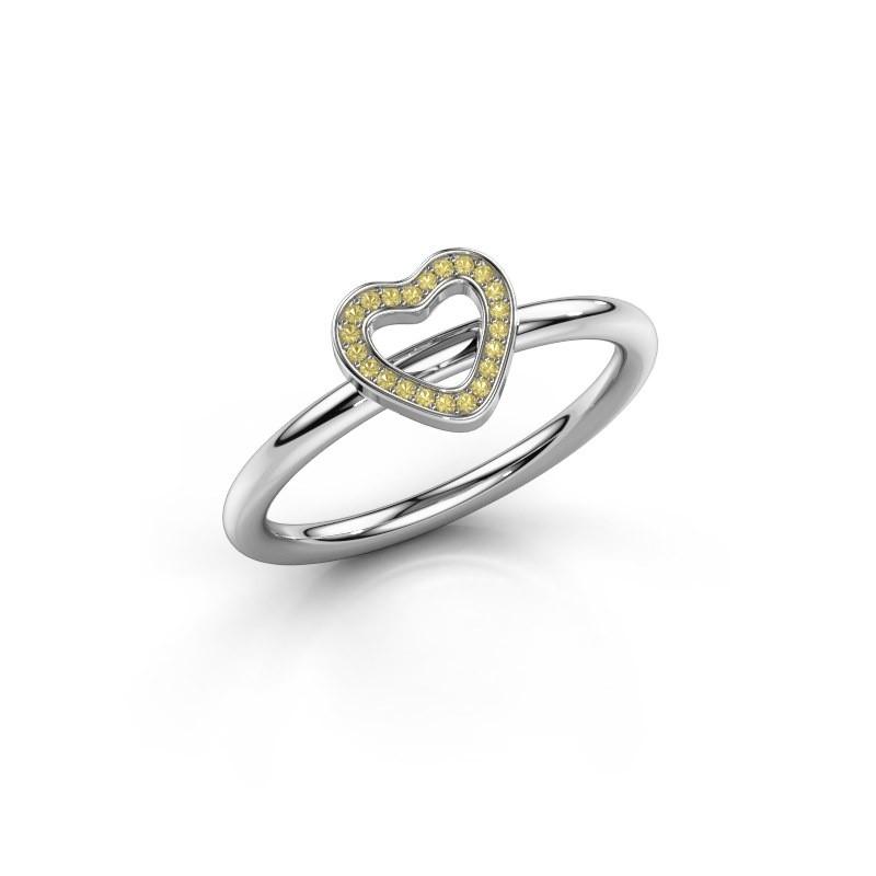 Ring Shape heart small 925 zilver gele saffier 0.8 mm