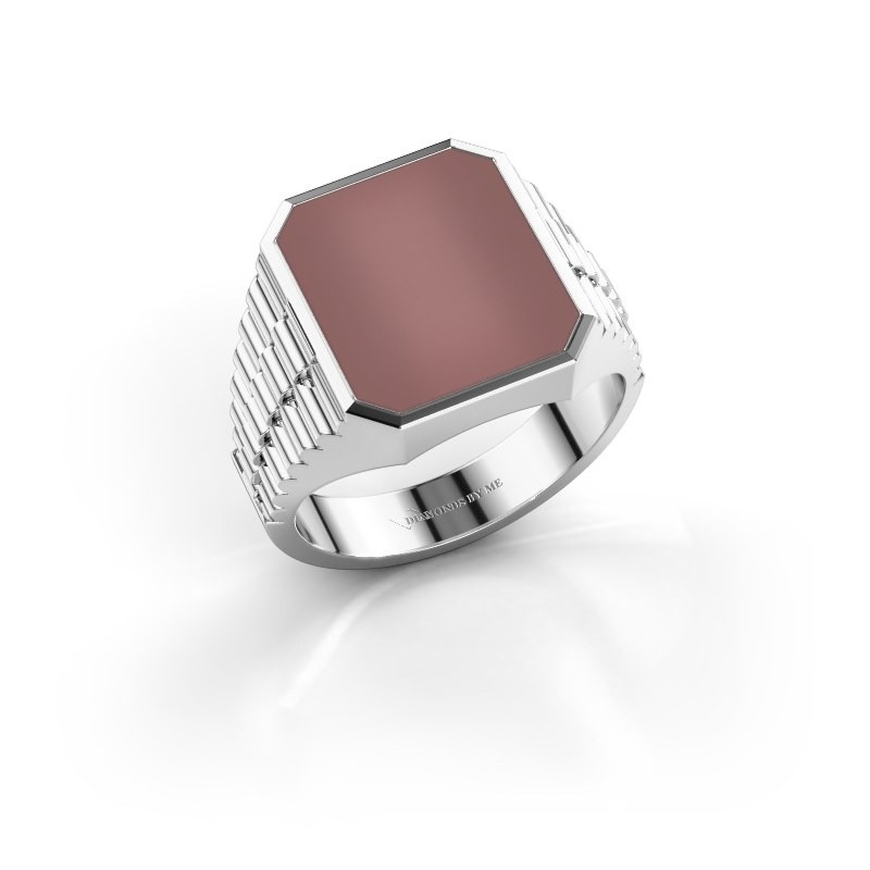 Rolex stijl ring Brent 3 585 witgoud carneool 14x12 mm