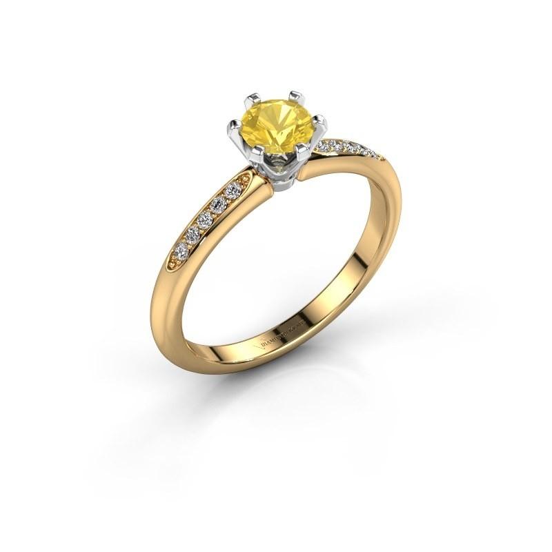 Verlovingsring Tiffy 2 585 goud gele saffier 4.7 mm