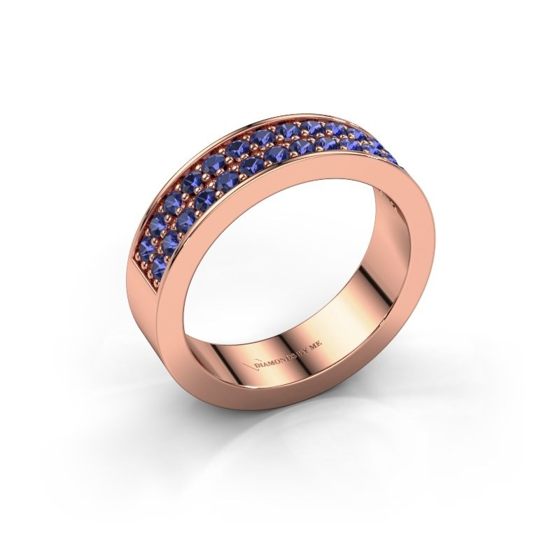 Stackable ring Catharina 6 375 rose gold sapphire 1.7 mm