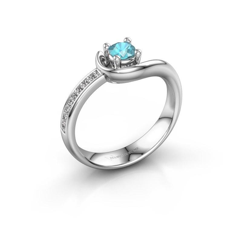 Ring Ceylin 950 platina blauw topaas 4 mm