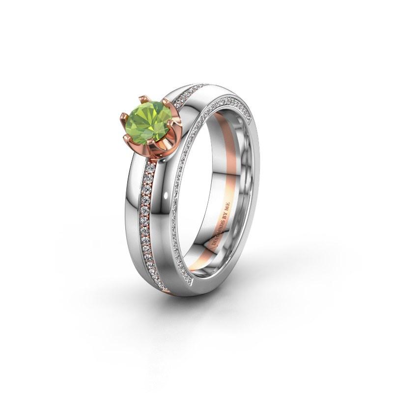 Huwelijksring WH0416L25E 585 rosé goud peridoot ±5x2.6 mm