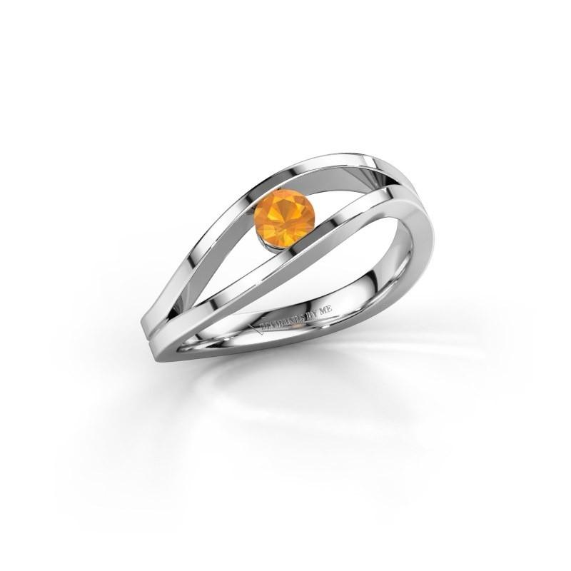 Engagement ring Sigrid 1 585 white gold citrin 3.7 mm