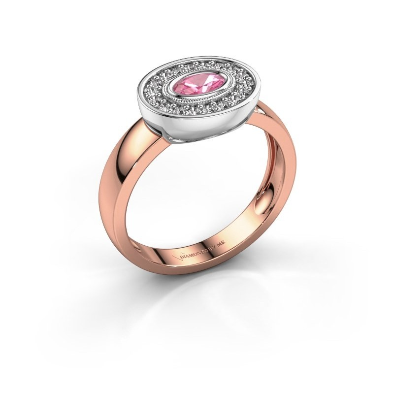Ring Azra 585 rose gold pink sapphire 5x3 mm