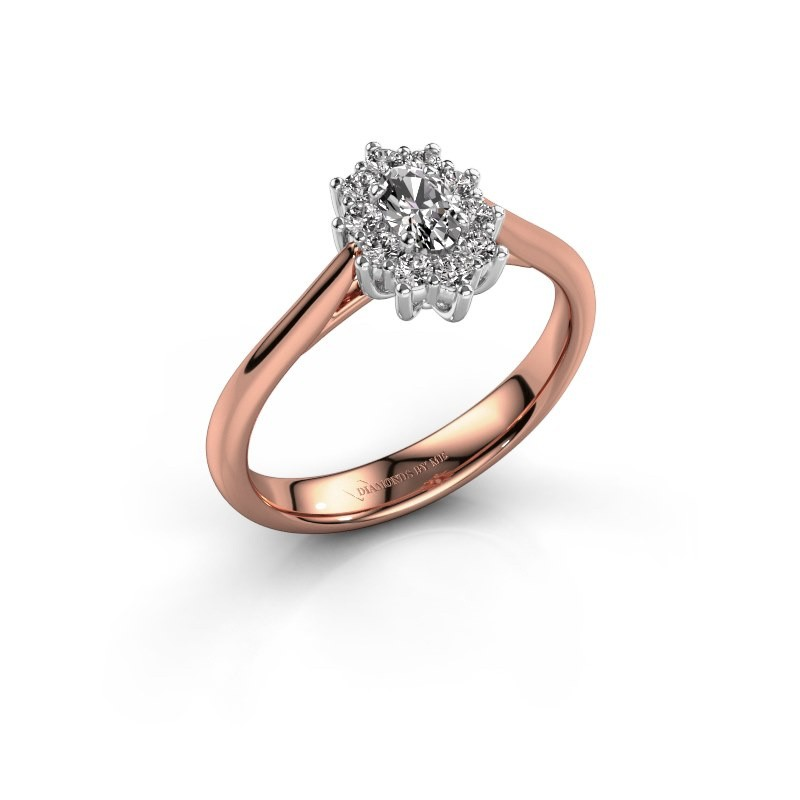 Rose Gold Cluster Engagement Ring Leesa 1 With Lab Grown Diamond 0 50 Crt