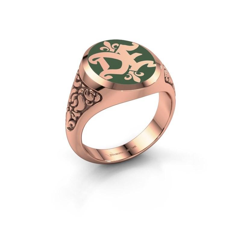 Monogram ring Brian Emaille 375 rose gold green enamel