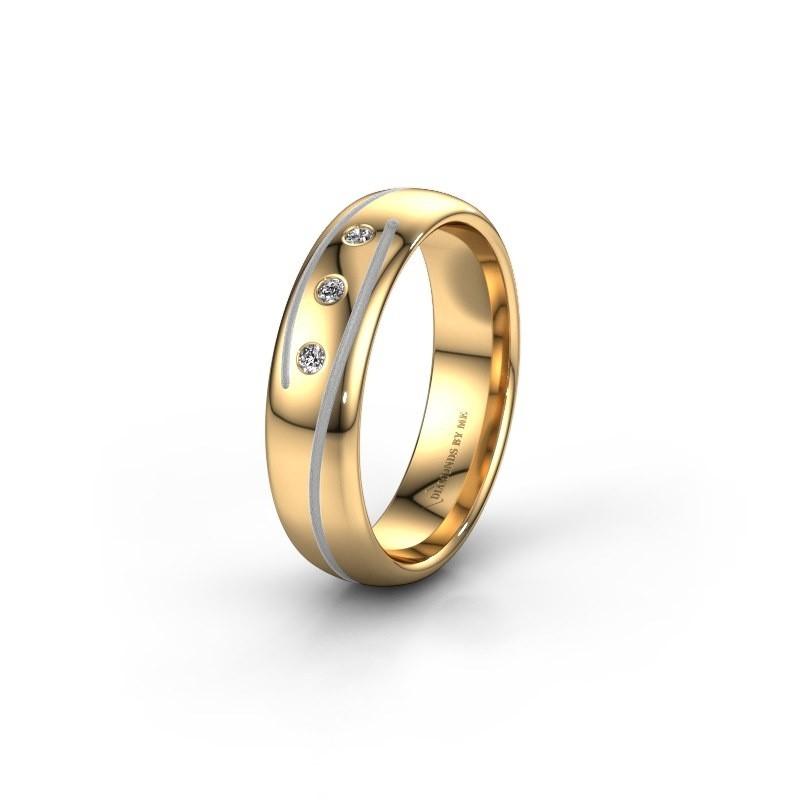 Trouwring WH0152L25A 585 goud zirkonia ±5x1.7 mm