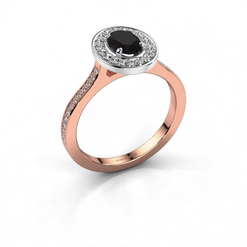 Ring Madelon 2 585 rosé goud zwarte diamant 1.320 crt
