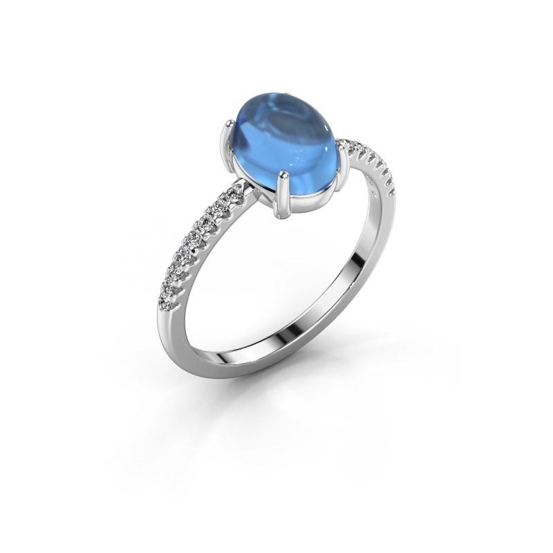 Ring Becky 925 zilver blauw topaas 8x6 mm