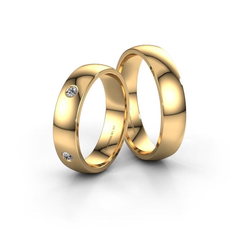 Trouwringen set WH0104LM25AP ±5x1.7 mm 14 karaat goud diamant 0.06 crt