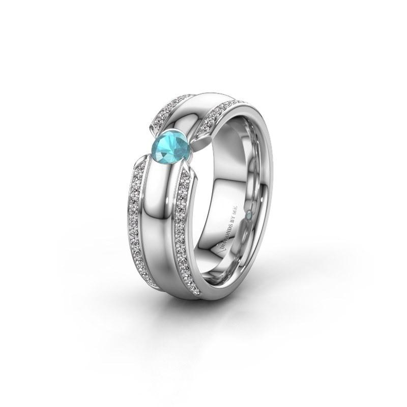 Wedding ring WHR0575L 950 platinum blue topaz ±7x2 mm