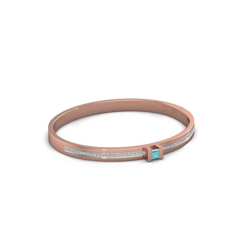 Armband Desire 585 rosé goud blauw topaas 4 mm