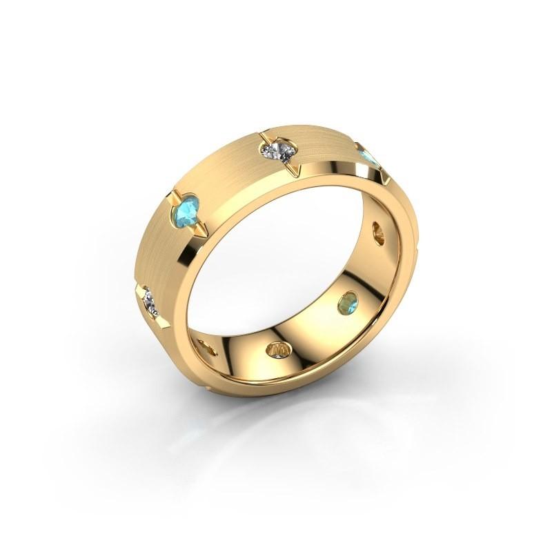 Men's ring Irwin 585 gold blue topaz 2.7 mm