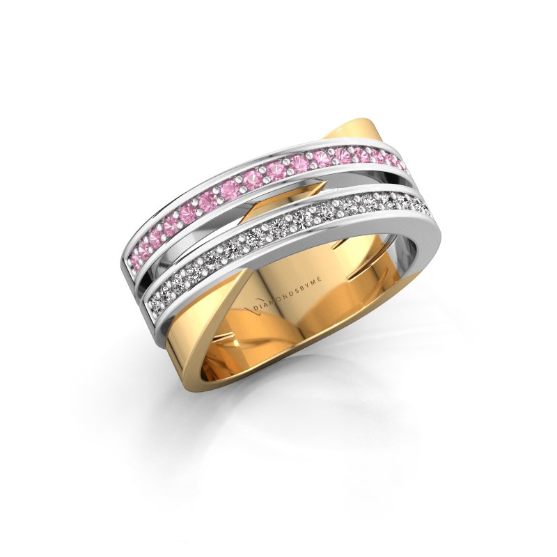 Ring Margje 585 gold pink sapphire 1.3 mm
