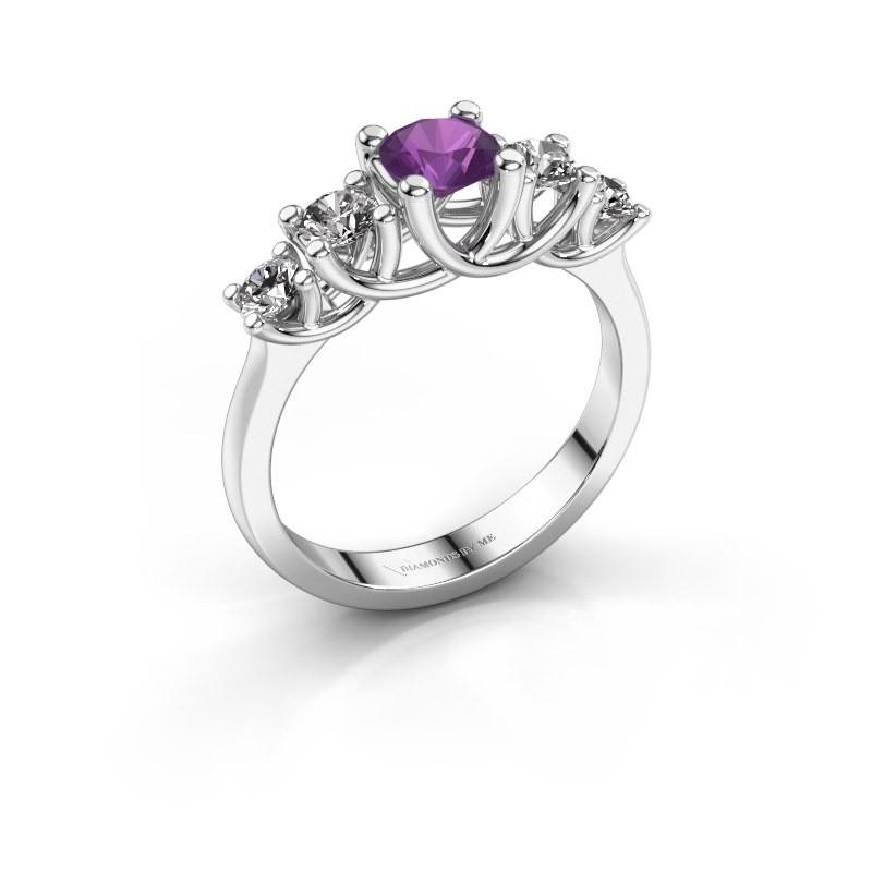Engagement ring Jet 585 white gold amethyst 5 mm