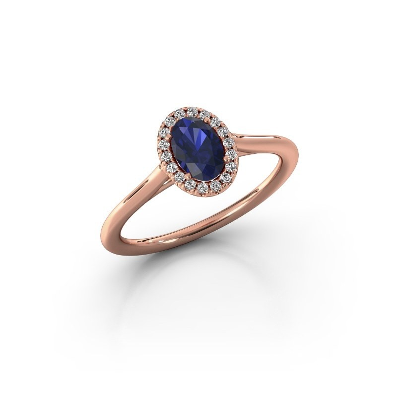 Engagement ring Seline 1 375 rose gold sapphire 6x4 mm