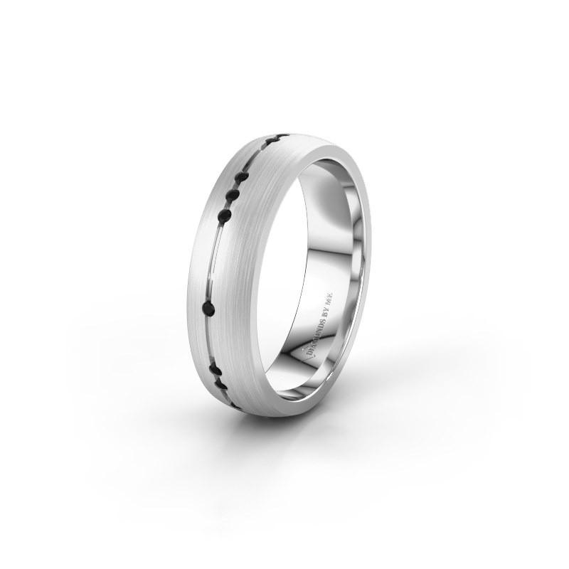 Trouwring WH0166L25A 950 platina zwarte diamant ±5x1.7 mm
