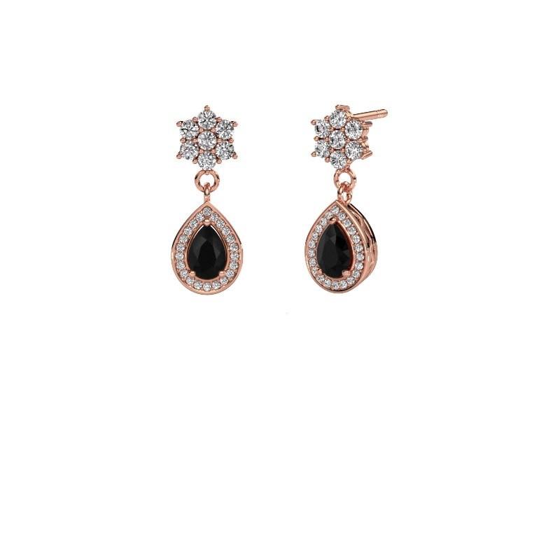 Oorhangers Era 585 rosé goud zwarte diamant 1.61 crt