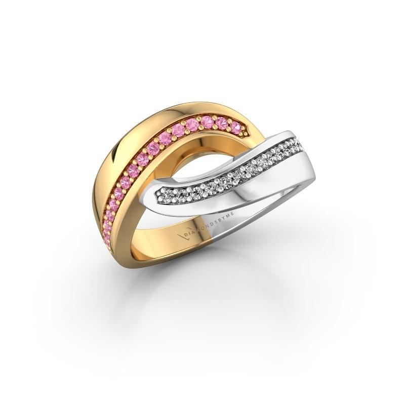 Ring Sharita 585 goud roze saffier 1.2 mm