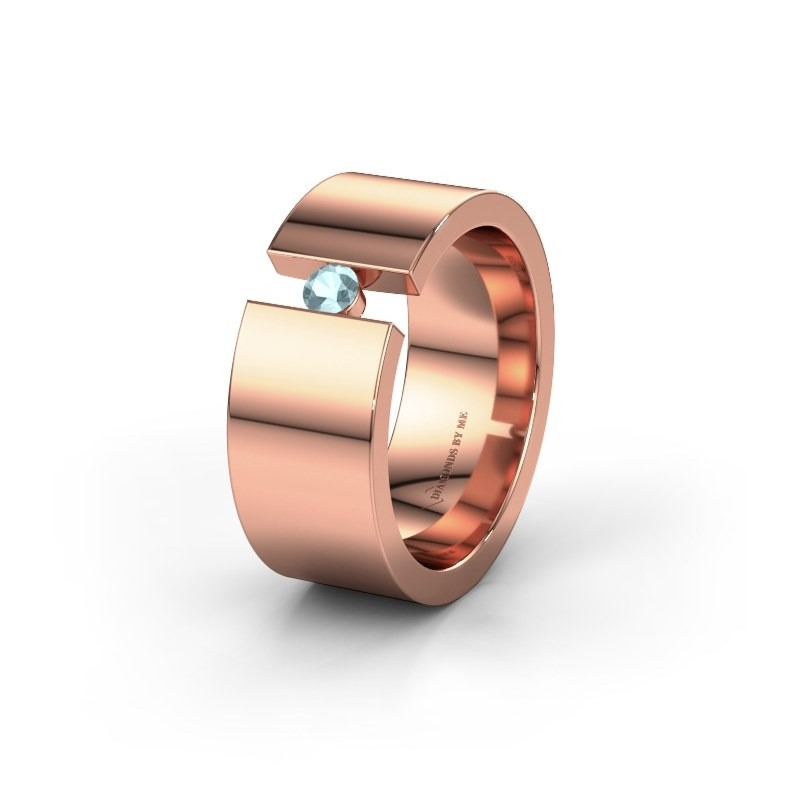 Trouwring WH0146L18BP 375 rosé goud aquamarijn ±8x2 mm
