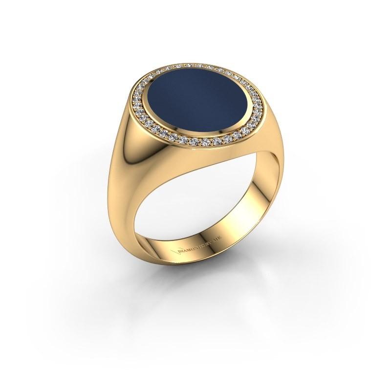 Signet ring Adam 3 585 gold dark blue sardonyx 13x11 mm
