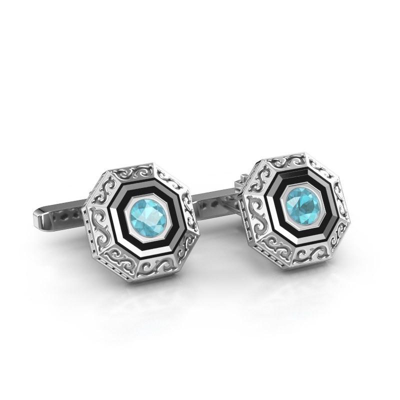 Cufflinks Dion 925 silver blue topaz 5 mm