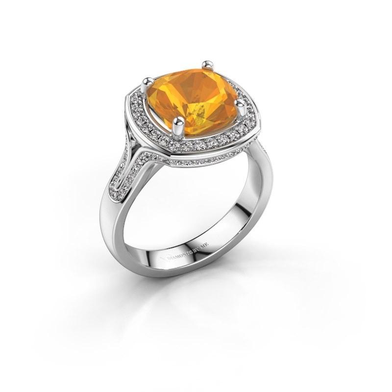 Ring Lili 950 platina citrien 9 mm