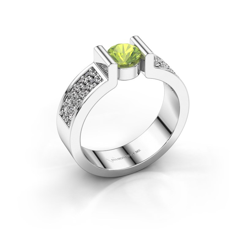 Engagement ring Isabel 3 925 silver peridot 5 mm