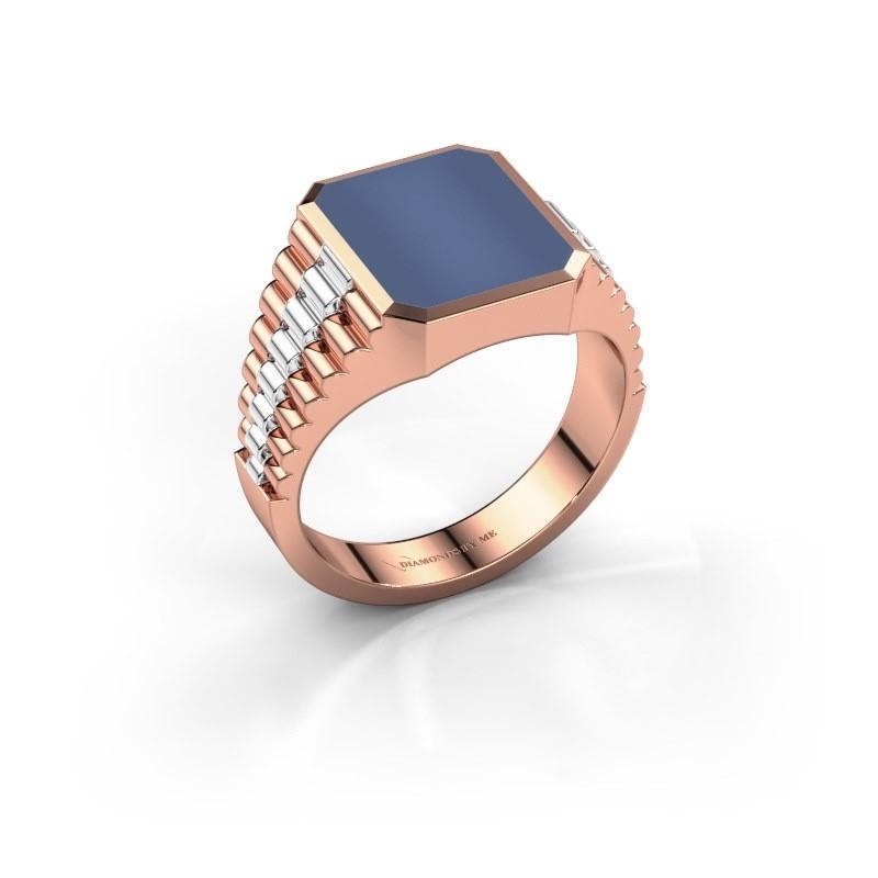 Zegelring Brent 2 585 rosé goud blauw lagensteen 12x10 mm