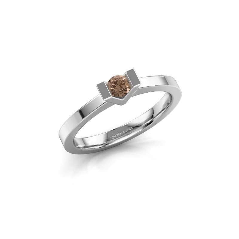 Aanzoeksring Sherley 1 925 zilver bruine diamant 0.15 crt