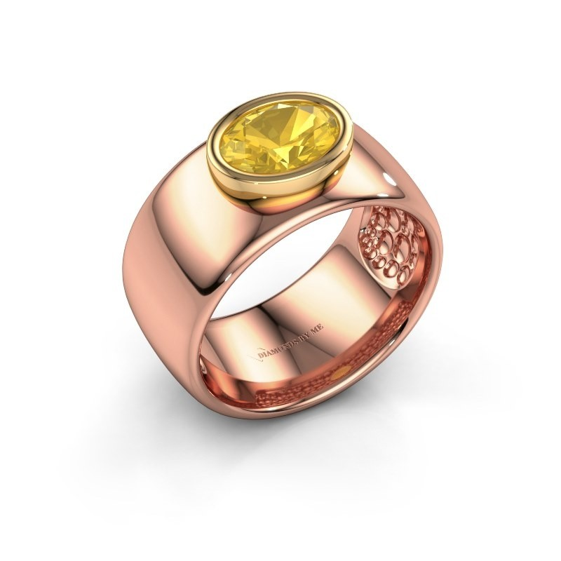 Ring Anouschka 585 rosé goud gele saffier 8x6 mm