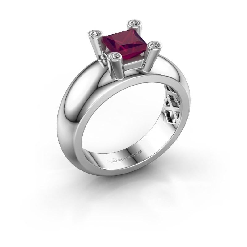 Ring Cornelia Square 925 Silber Rhodolit 5 mm