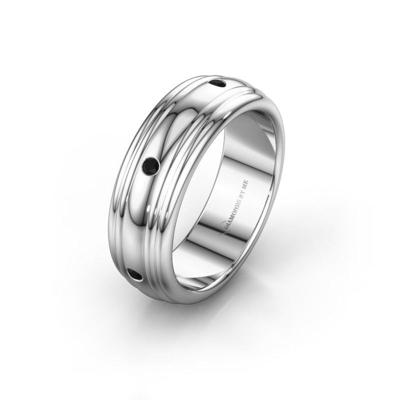 Trouwring WH2236L 950 platina zwarte diamant ±6x2.2 mm