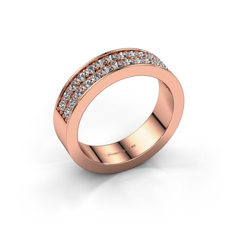 Stackable ring Catharina 6 375 rose gold diamond 0.56 crt