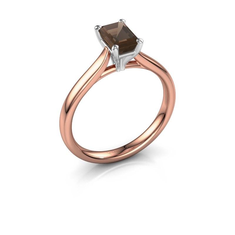 Verlovingsring Mignon eme 1 585 rosé goud rookkwarts 6.5x4.5 mm